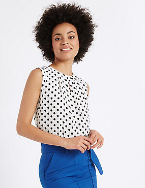 Spotted Round Neck Vest Top, WHITE/BLACK, catlanding