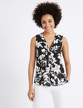 Floral Print Frill Detail Shell Top
