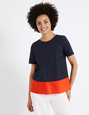 Pure Cotton Colour Block Shell Top