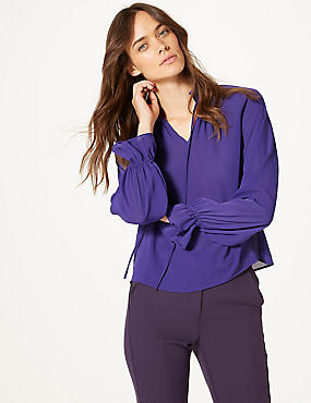 Funnel Neck Long Sleeve Blouse, PURPLE, catlanding