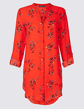 Floral Print Longline Long Sleeve Tunic
