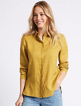 Pure Linen Long Sleeve Shirt , ANTIQUE GOLD, catlanding