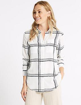 Checked Long Sleeve Shirt, IVORY MIX, catlanding