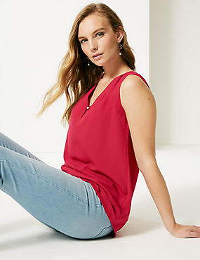 Pleated V-Neck Shell Top, CRANBERRY, catlanding