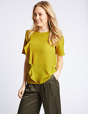 Ruffle Front Short Sleeve Shell Top , LIME, catlanding