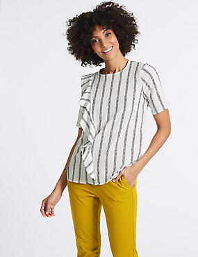 Striped Ruffle Front Short Sleeve Shell Top