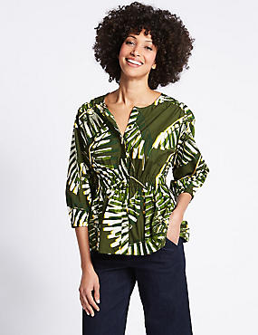 Pure Cotton Palm Print 3/4 Sleeve Blouse , GREEN MIX, catlanding