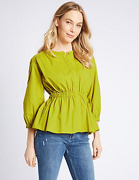 Pure Cotton Long Sleeve Blouse , LIME, catlanding