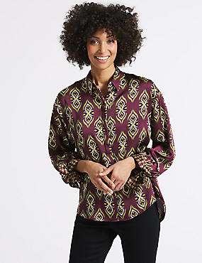 Geometric Print Long Sleeve Tie Cuff Shirt, PURPLE MIX, catlanding