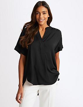 Popover Notch Neck Short Sleeve Blouse , BLACK, catlanding