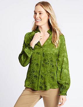 Jacquard Floral Cuff Detail Blouse, DARK GREEN, catlanding