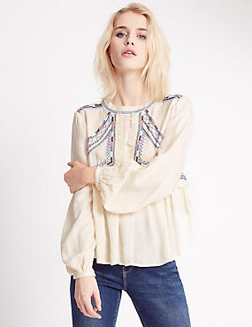 Pure Modal Embroidered Peasant Blouse
