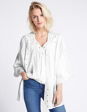 Pure Cotton Embroidered Kimono Top