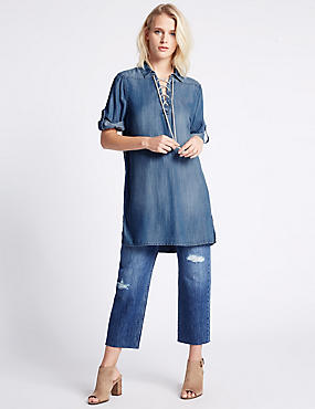 Denim Collared Neck 3/4 Sleeve Tunic