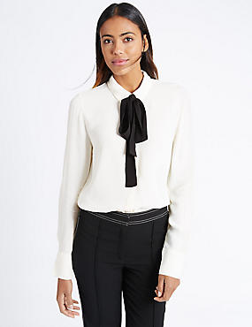 Long Sleeve Collared Neck Blouse
