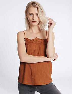 Pure Cotton Lace Crinkle Camisole Top