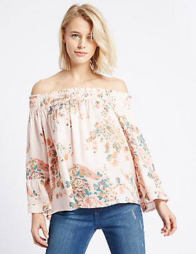Floral Print Bardot Flared Sleeve Blouse