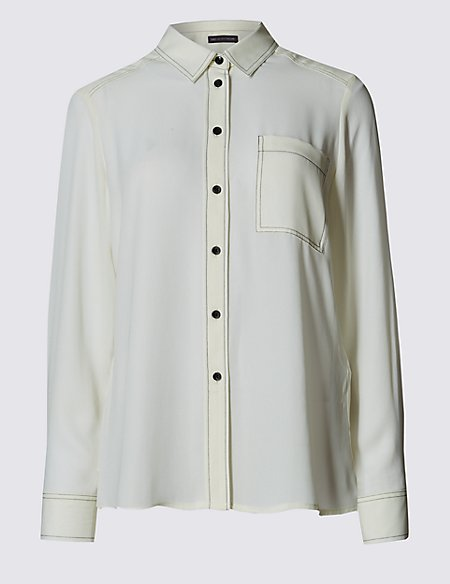 PETITE Stitched Long Sleeve Shirt