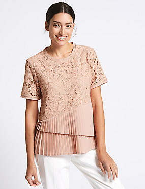 Cotton Blend Floral Lace Pleated Shell Top