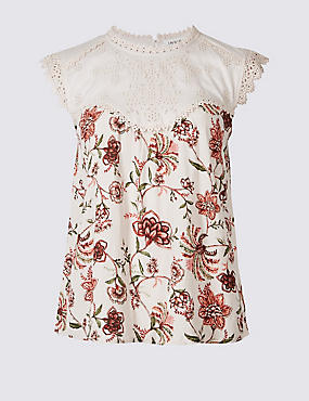 Floral Print Cap Sleeve Shell Top