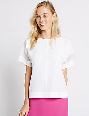 Sheer Sleeve Round Neck Shell Top