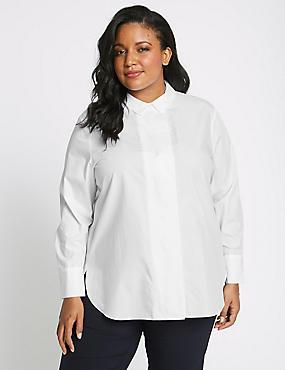 CURVE Pure Cotton Long Sleeve Shirt, WHITE, catlanding