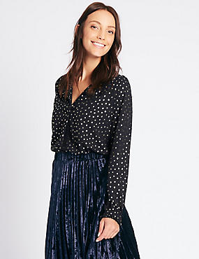 Metallic Spotted Popover Long Sleeve Blouse