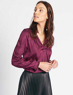 Satin Popover Notch Neck Long Sleeve Blouse