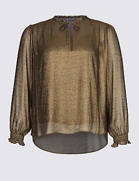Metallic Notch Neck Long Sleeve Blouse