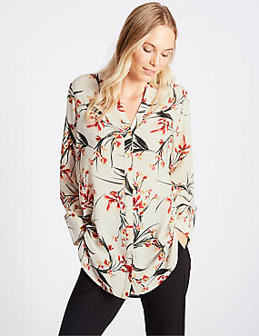 Floral Print Notch Neck Long Sleeve Tunic, IVORY MIX, catlanding