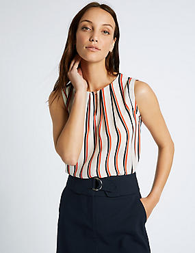Striped Round Neck Sleeveless Shell Top