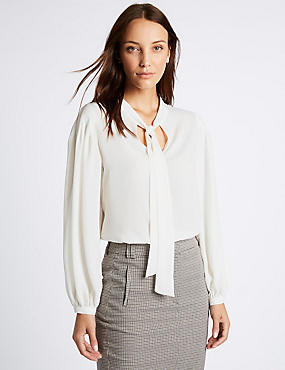 Tie Detail V-Neck Blouse
