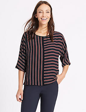 Kimono Striped 3/4 Sleeve Shell Top, NAVY MIX, catlanding