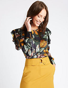 Printed Frill Shoulder Long Sleeve Shell Top