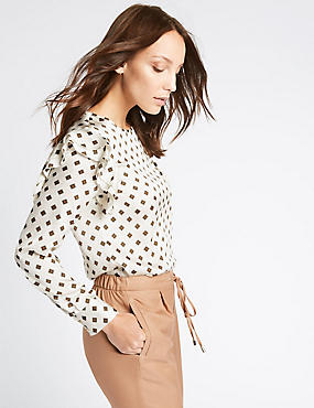 Geometric Print Frill Shoulder Shell Top