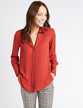 Contrasting Edge Long Sleeve Shirt