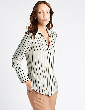 Striped Piping Detail Long Sleeve Shirt