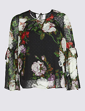 PLUS Floral Print Long Sleeve Blouse