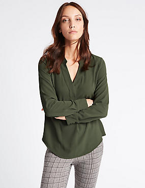 Popover Notch Neck Long Sleeve Tunic