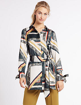 Geometric Print Longline Long Sleeve Shirt