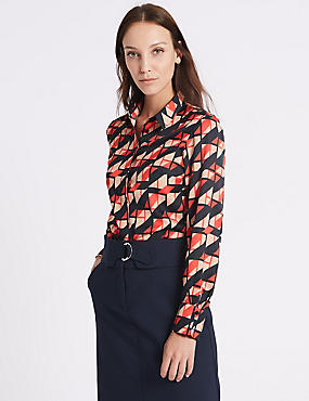 Satin Geometric Print Long Sleeve Shirt