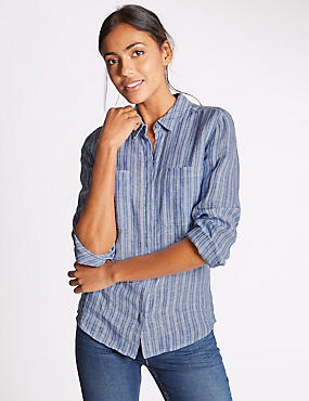 Pure Linen Striped Long Sleeve Shirt