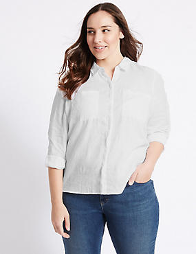 PLUS Pure Linen Long Sleeve Shirt