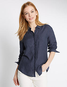 PETITE Pure Linen Turn Up Sleeve Shirt