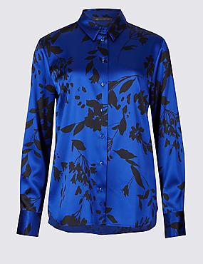 Floral Print Long Sleeve Shirt , BLUE MIX, catlanding