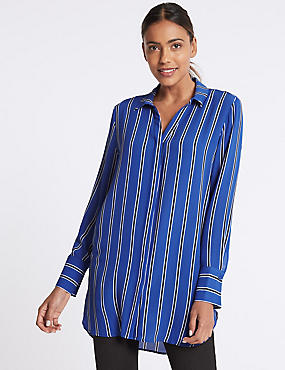 Striped Longline Long Sleeve Shirt