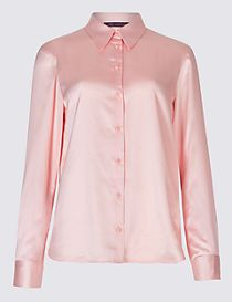 Plain Satin Sleeve Detail Shirt