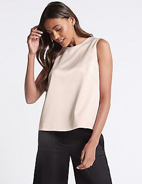 Tie Back Sleeveless Shell Top, LIGHT PEACH, catlanding