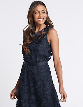 Lace Round Neck Shell Top , NAVY, catlanding