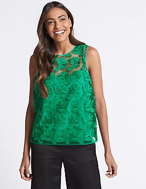 Lace Round Neck Shell Top , GREEN, catlanding